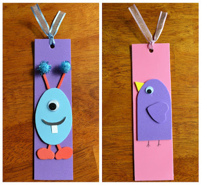 side by side finished foam bookmarks